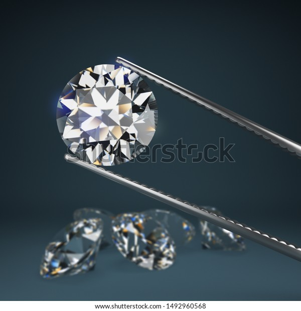 Diamond round cut in tweezers. Blurred dark blue with a scattering of diamonds. Depth of field. 3d image.