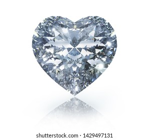 Diamond in the shape of a heart - white background - 3D illustration