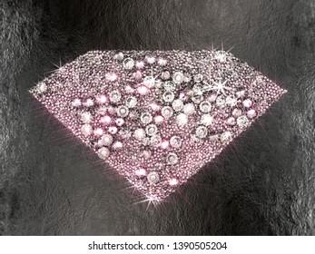 Diamond shape made of shiny diamonds on black concrete. 3D illustration