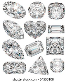 Diamond shapes isolated on white. 3d illustration.