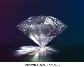 Diamond Side View 3D Illustration on Color Background (with clipping path)