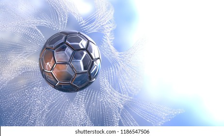Diamond soccer ball with water splash under blue sky. 3D illustration. 3D high quality rendering.