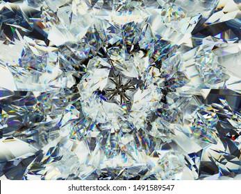 structure diamantifère extrême en gros plan et kaléidoscope. vue de dessus de rendu 3d de pierre angulaire, illustration 3d