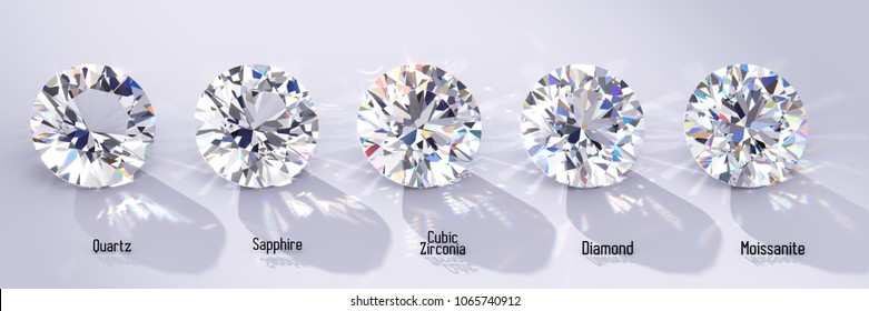 Diamond and its substitutes comparison. Quartz, sapphire, cubic zirconia, moissanite, front view with names on white background. 3D rendering illustration