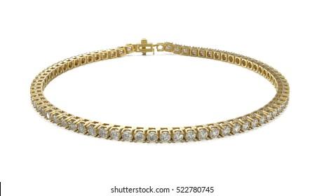 diamond tennis bracelet 3D illustration