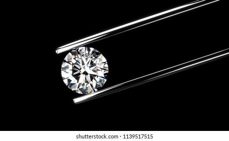 Diamond in tweezers isolated on a black background, 3d rendering.