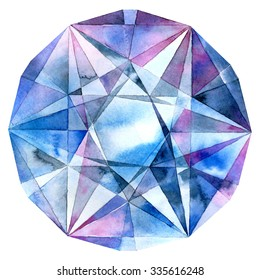Diamond. Watercolor illustration of crystal.