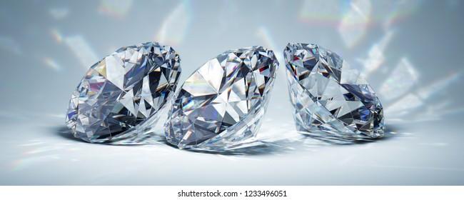 Diamonds in bright light on blue background. 3D illustration.