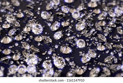 A lot of diamonds on a glossy reflective plane with blue tint, with depth of field. 3d illustration
