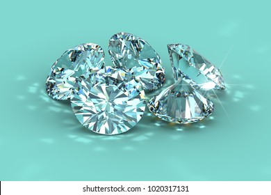 Diamonds on tiffany blue background with caustics rays. 3D rendering illustration