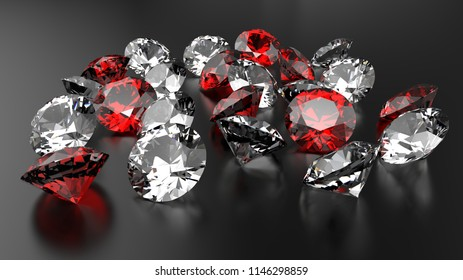 Diamonds and rubies  on a black background.. 3d illustration.