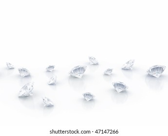 Diamonds scattered on white