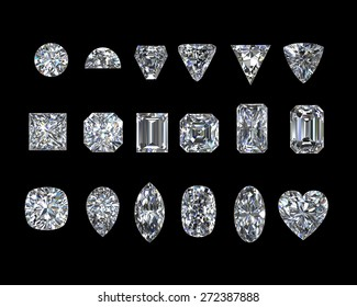 Diamonds set on Black background