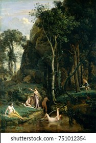 DIANA AND ACTAEON, by Camille Corot, 1836, French painting, oil on canvas. The goddess Diana, points as the hunter Actaeon approaches the goddess and her nymphs enjoying a woodland bath. As Diana turn