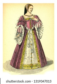 Diane of Poitiers, vintage engraved illustration. 12th to 18th century Fashion By Image.