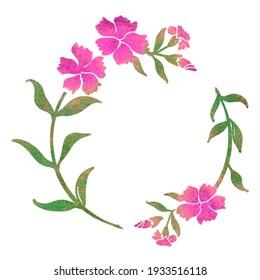 Dianthus flower circular frame decoration