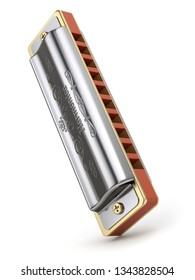 Diatonic harmonica with abstract design on white background - 3D illustration
