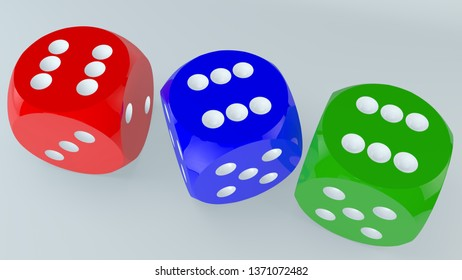 Dice in blue,green and red colors.3d illustration