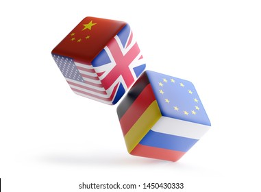 dice China Europe USA UK Germany Russia 3d-illustration