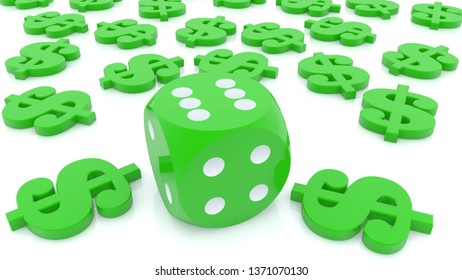 Dice with dollar signs around in green.3d illustration