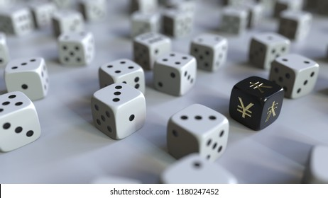 Dice with Japanese yen sign among scattered gambling dices. Forex success or finance related 3D rendering