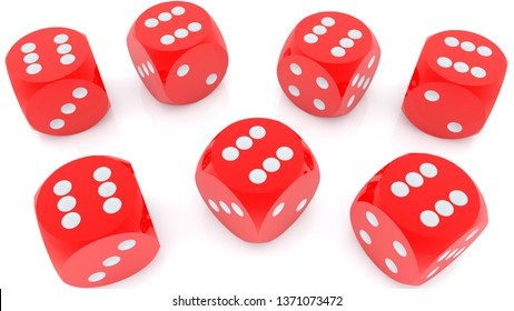 Dice in red color on white background.3d illustration