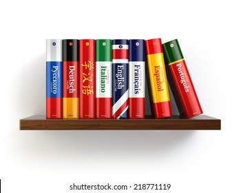 Dictionaries on bookshelf white isolated backgound. 3d