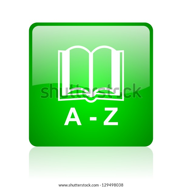 dictionary green square web icon on white background