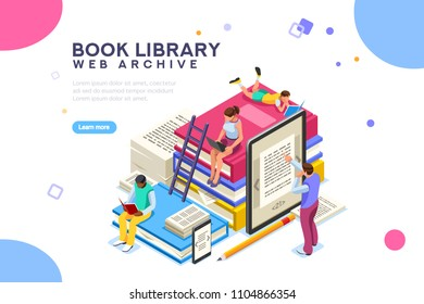 Dictionary, library of encyclopedia or web archive. Technology and literature, digital culture on media library. Clipart sticker icon for web banner. Flat isometric people images, illustration.