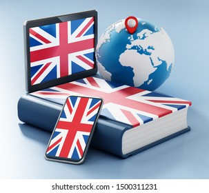 Dictionary, smartphone and tablet pc with British flag along the globe. 3D illustration.