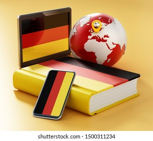 Dictionary, smartphone and tablet pc with German flag along the globe. 3D illustration.