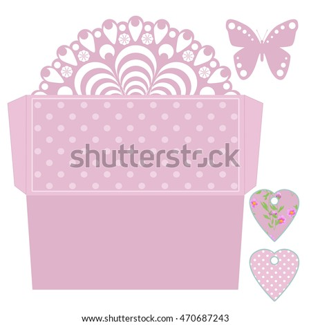 die cut envelope amd tags template stock illustration 470687243
