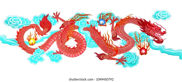die cut red dragon paint with blue cloud from buddhism public temple wall