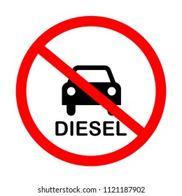 Diesel ban - traffic sign is prohibiting to use vehicles and cars with diesel engine