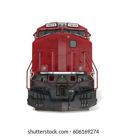 Diesel Locomotive on white. Front view. 3D illustration