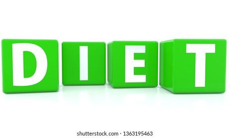Diet concept on green cubes.3d illustration