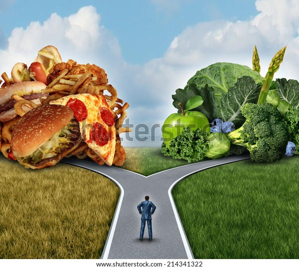 Diet decision concept and nutrition choices dilemma between healthy good fresh fruit and vegetables or greasy cholesterol rich fast food with a man on a crossroad trying to decide what to eat.
