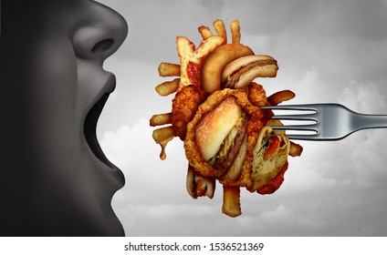 Diet and heart disease dangerous coronary fitness and unhealthy food concept with human cardiovascular anatomy organ made from fried fast food as a metaphor with 3D illustration elements.