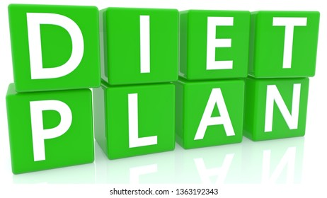 Diet plan concept on green cubes.3d illustration