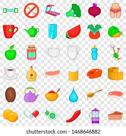 Dietary product icons set. Cartoon style of 36 dietary product icons for web for any design