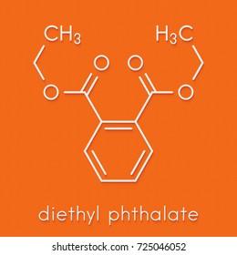 Diethyl phthalate (DEP) plasticizer molecule. Skeletal formula.