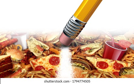 Dieting and junk food concept with greasy fried restaurant take out as burgers and hot dogs with fried chicken french fries and pizza as a diet solution and nutrition 3D illustration elements.