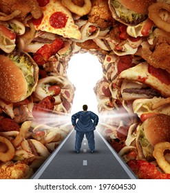 Dieting solutions and overweight diet advice concept as an obese man walking on a road to a heap of greasy junk food shaped as a key hole as a metaphor for answers to unhealthy food risk.