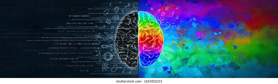 The Difference in the Work of the Right and Left Hemispheres of the Brain. Analytical Thinking Versus Abstract. Conceptual Ultrawide Illustration.