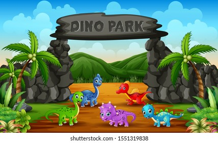 Different baby dinosaurs in dino park illustration