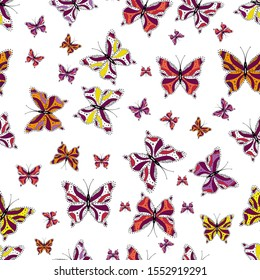 Different beautiful butterflies flying for coloring book. Seamless pattern background with insect. Abstract seamless pattern for clothes, boys, girls, wallpaper.