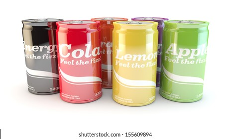 different cans of soda or drinks on a white background