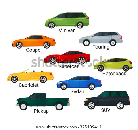 Different Car Types Icons Flat Style Stock Illustration 325109411