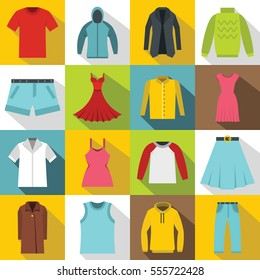 Different clothes icons set. Flat illustration of 16 different clothes items  icons for web