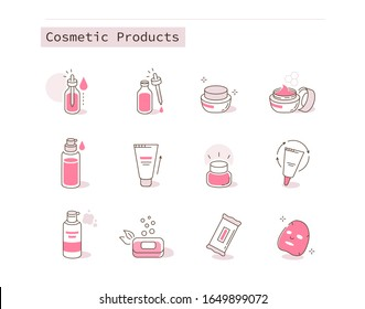 Different Cosmetic Icons Collection. Containers and Bottles with Beauty Products. Moisturizing Cream, Hygienic Products, Serum and other Skin Care Cosmetics. Flat Line Cartoon Illustration.